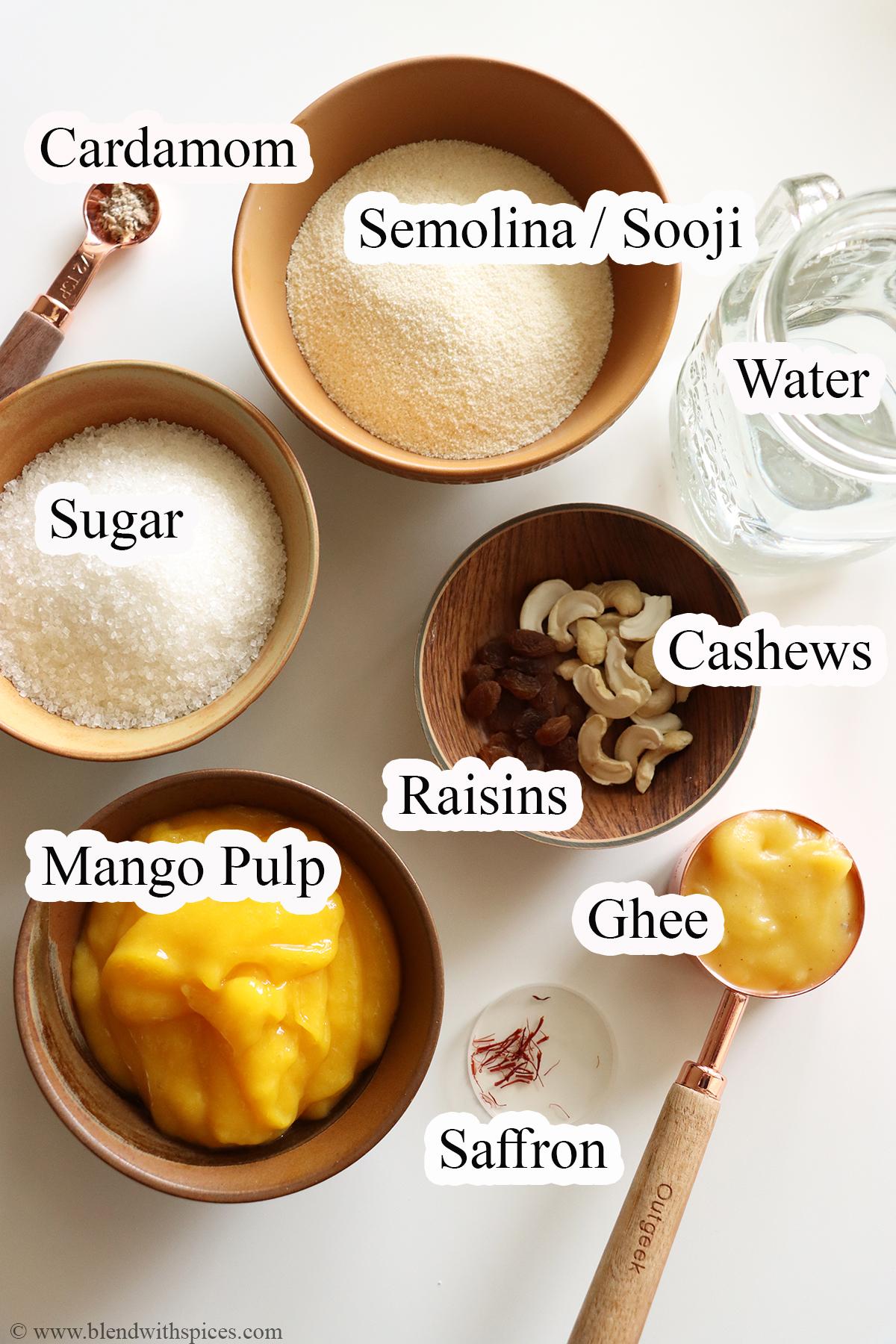 A display of complete ingredients to make and Indian dessert called mango kesari or mango sheera.