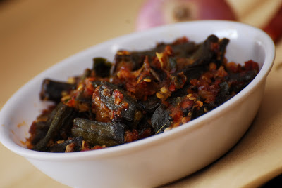 Bendakaya Ulli Kaaram ~ Okra with Spiced Onion