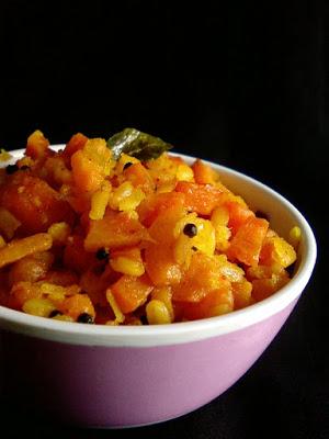 Carrot Pesarapappu Koora ~ Carrot Moong Dal Curry