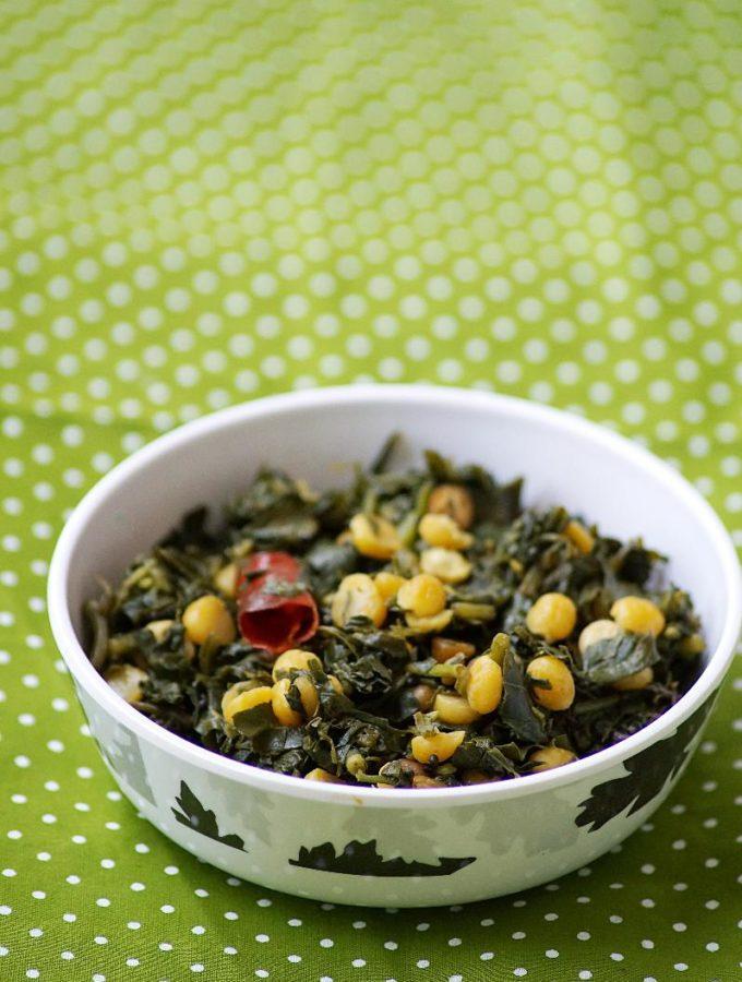 Ponnaganti Aaku Senagapappu Fry / Water Amaranth Leaves & Bengal Gram Stir Fry