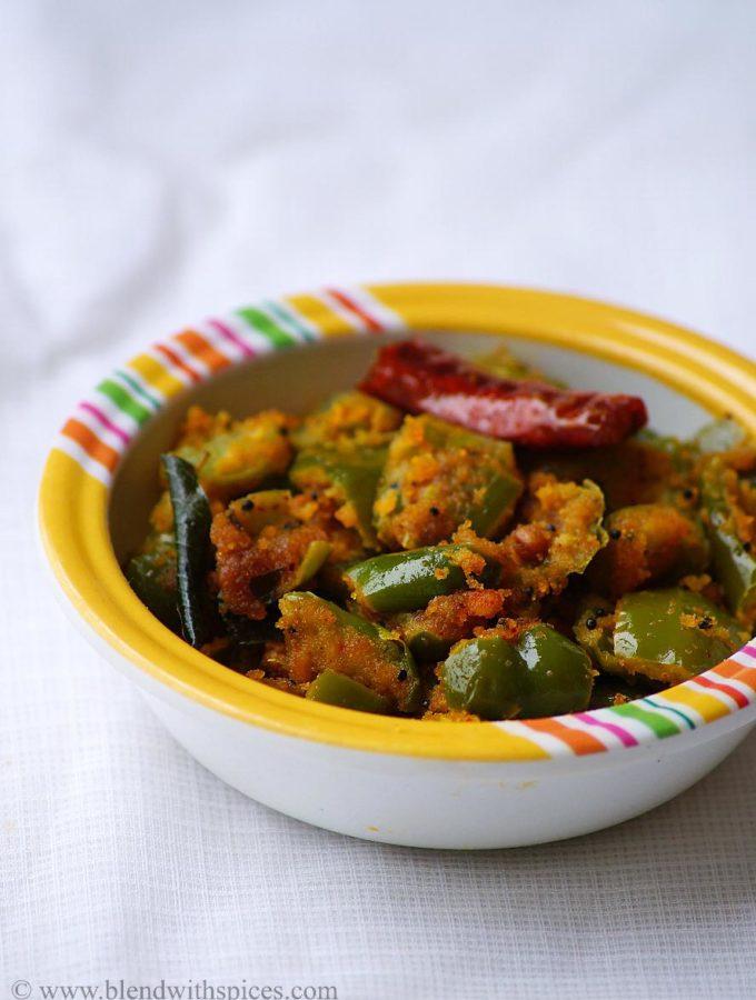 Capsicum Senagapindi Kura Recipe ~ Andhra Style Capsicum Besan Stir Fry
