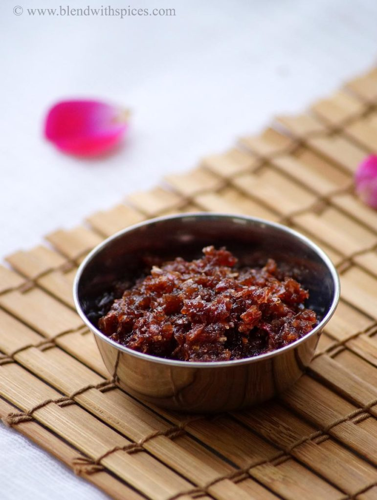 gulkand, gulkand recipe, how to make gulkand at home, indian rose preserve, rose jam recipe