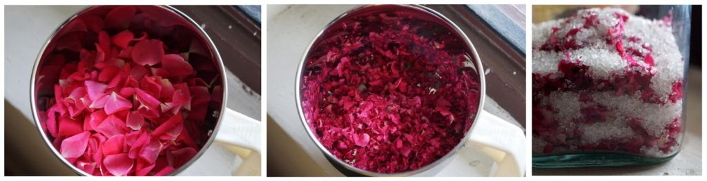 gulkand step by step, recipe of rose jam, how to prepare gulkand at home