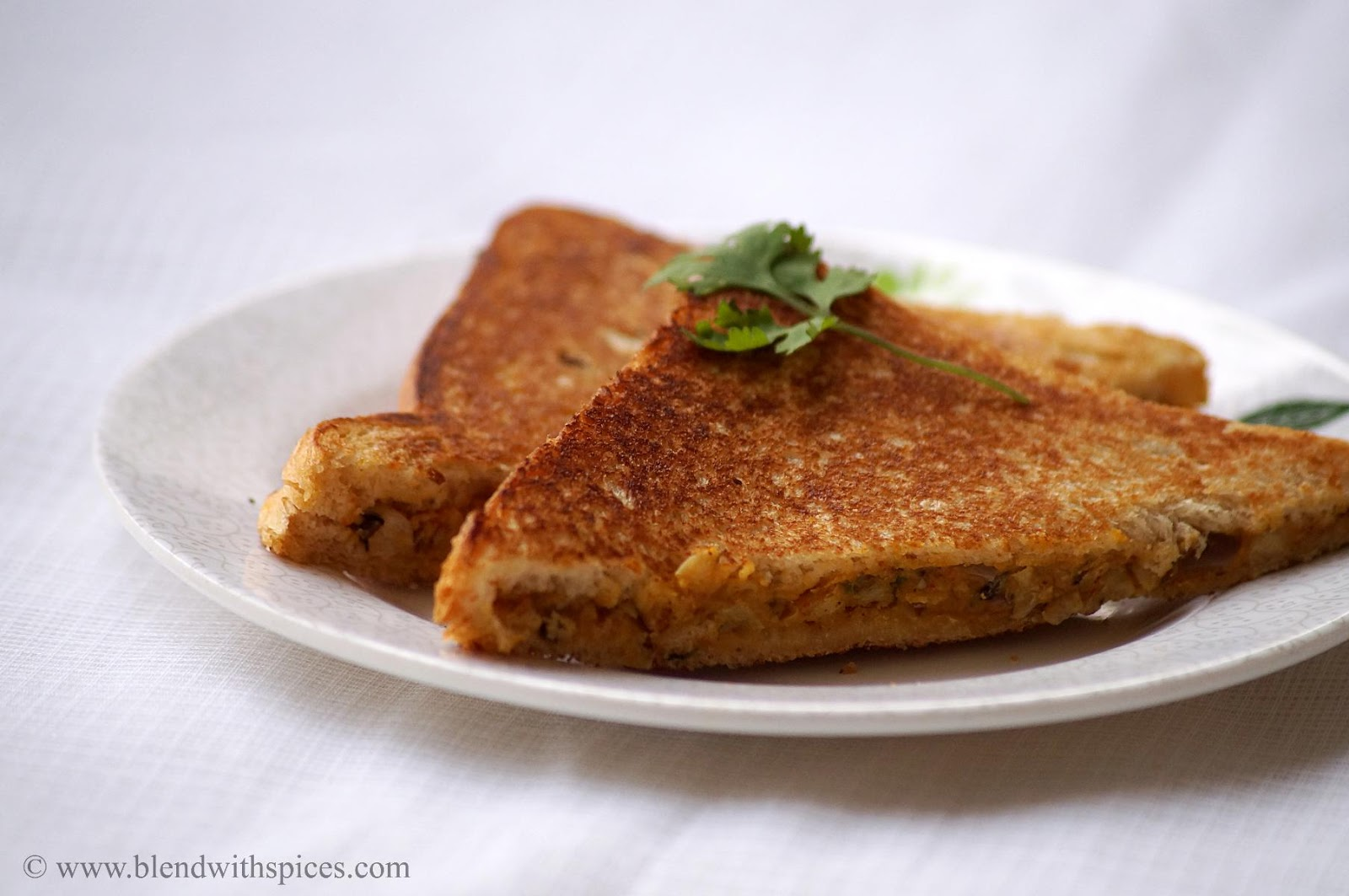indian style toasted sandwich made with cowpeas