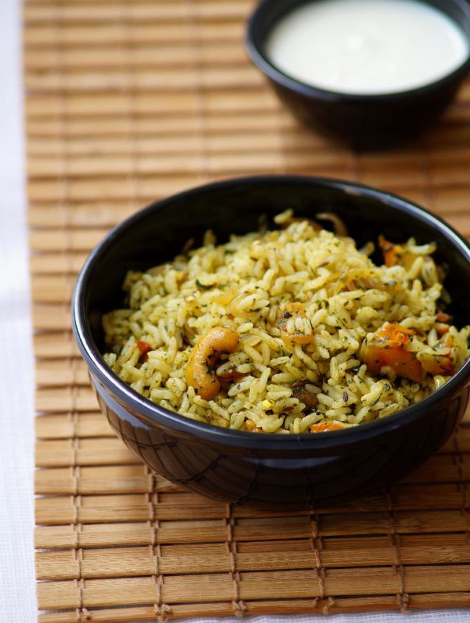 Pudina Rice Recipe – Andhra Style Mint Rice Recipe Video – Easy Lunch Box Recipes