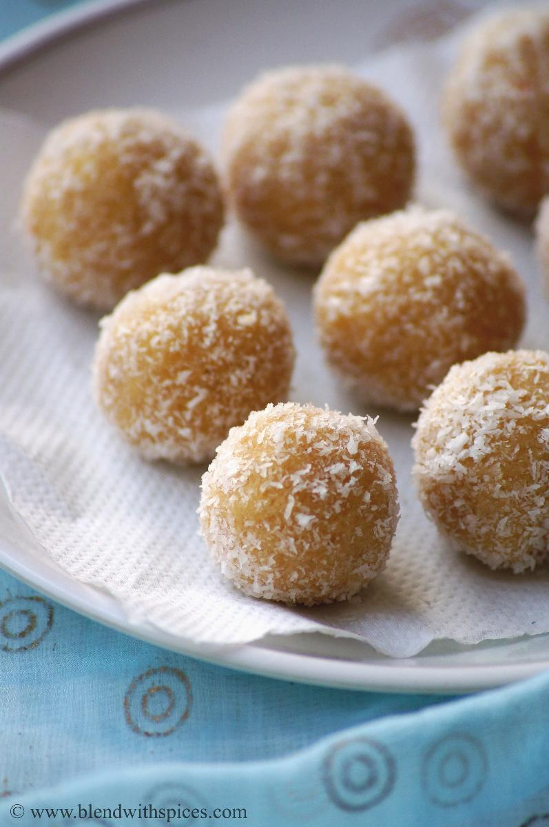 A plate of healthy indian mawa coconut ladoo