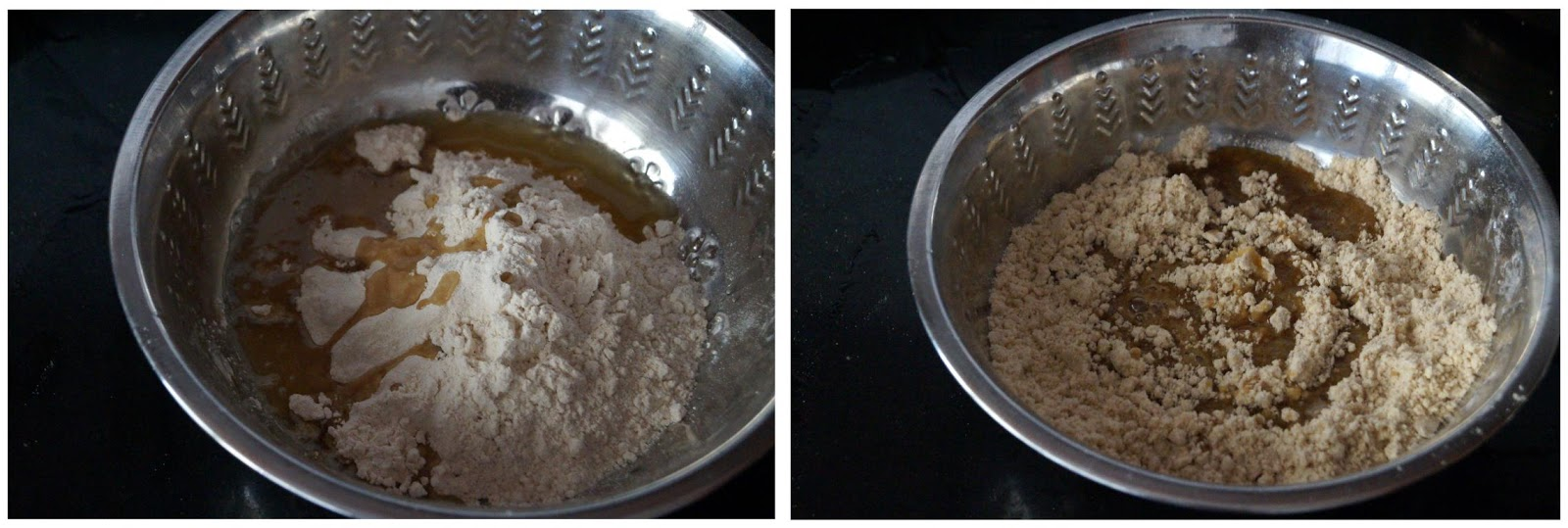 Making a wheat and jaggery dough to make gur para