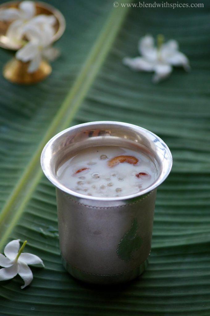 javvarisi payasam recipe, how to make sago payasam, easy kheer recipes, indian desserts, recipe for sabudana kheer, recipe of sago payasam, saggubiyyam payasam
