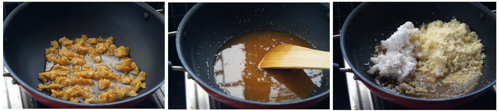 making of khoya coconut jaggery laddu recipe