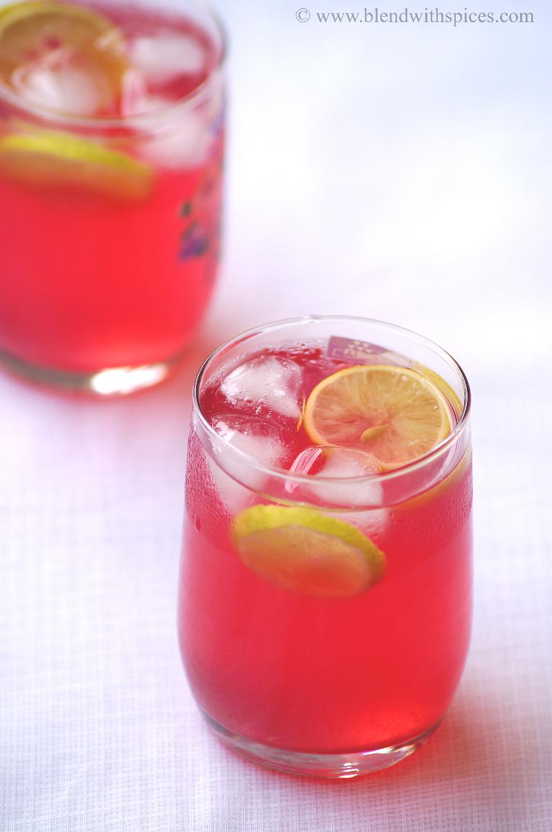 glasses of rooh afza lemonade for a summer afternoon