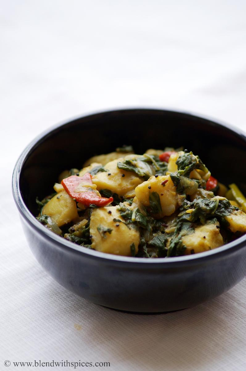 vegan Indian potato spinach curry