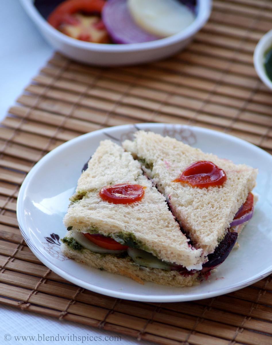 Bombay Veg Sandwich Recipe - How to make Vegetable Sandwich Recipe - Indian Street Food Recipes