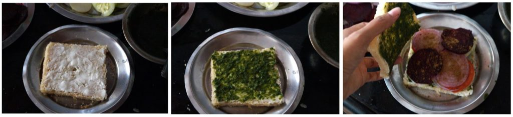 mumbai veg sandwich recipe, how to make veg sandwich recipe, mumbai street food