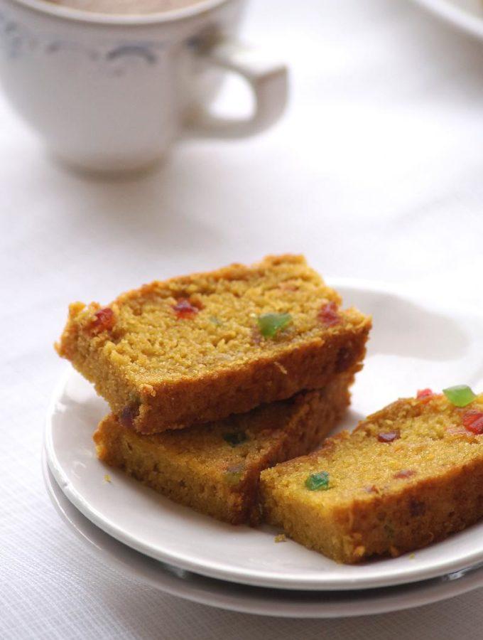 Eggless Mango Tutti Frutti Cake Recipe – Vegan Mango Wheat Cake Recipe – Eggless Cake Recipes