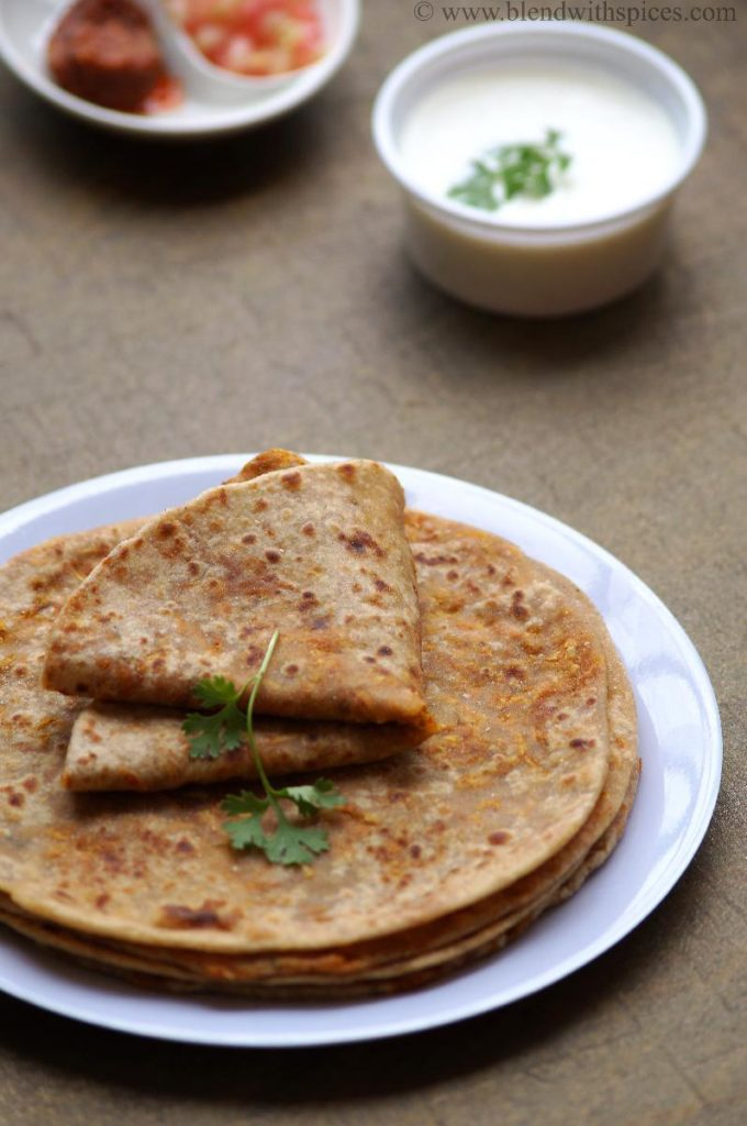 recipe of carrot paratha, how to prepare carrot paratha, north indian paratha recipes, paratha recipes indian, step by step recipe
