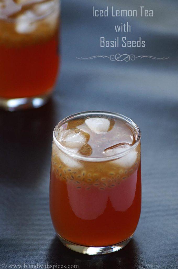 sabja seeds recipe, iced lemon tea recipe, iced lemon tea with sabja seeds, sabja recipes