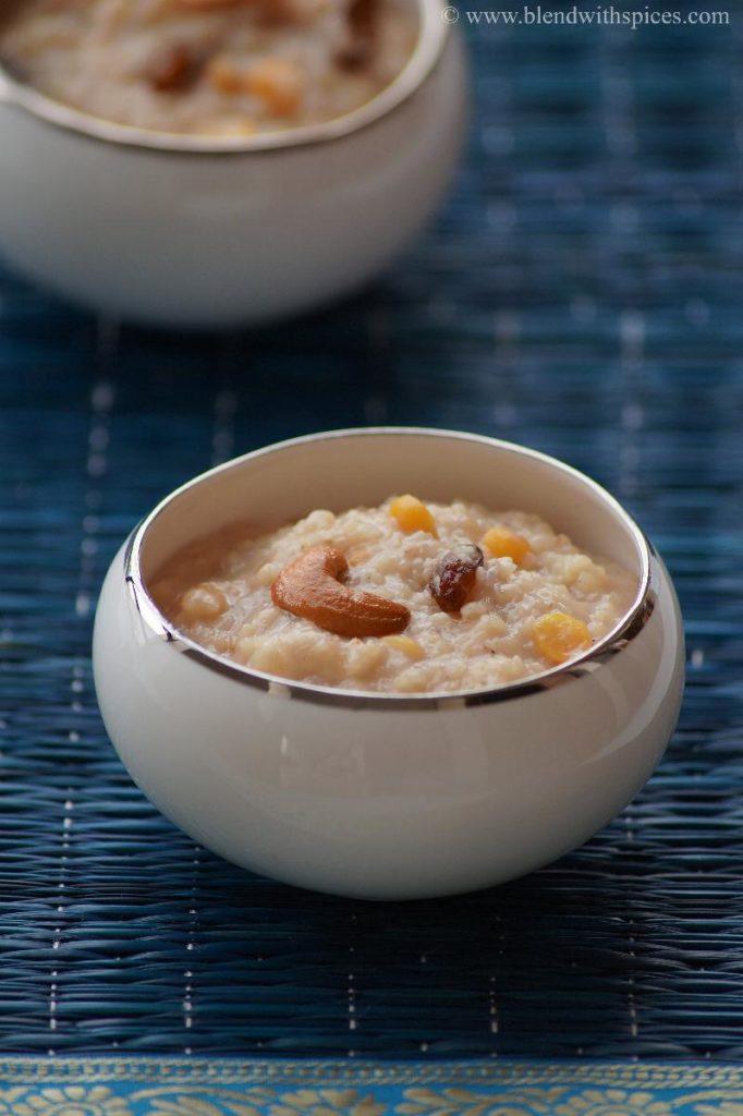 whear rava sweet pongal, godhuma pongali recipe, varalakshmi prasadam, indian desserts, godhumai sweet pongal, wheat rava jaggery pongali