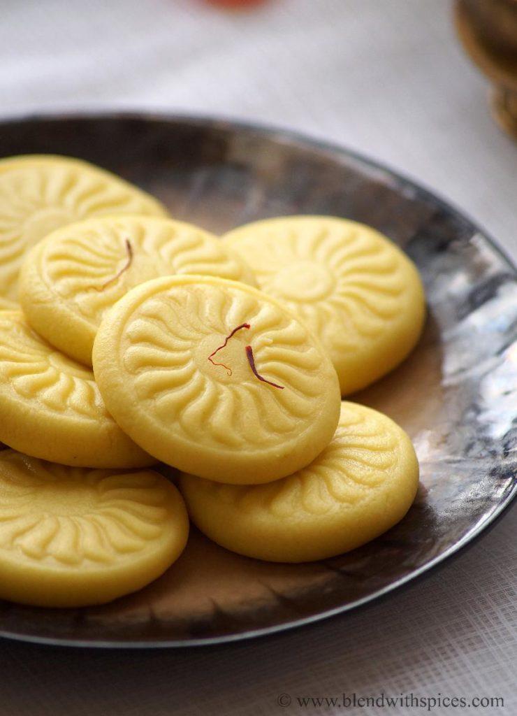 kesar peda with khoya, how to prepare saffron peda