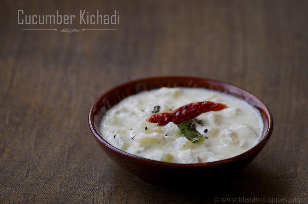 cucumber kichadi recipe, how to make vellarikka kichadi, onam sadya recipes