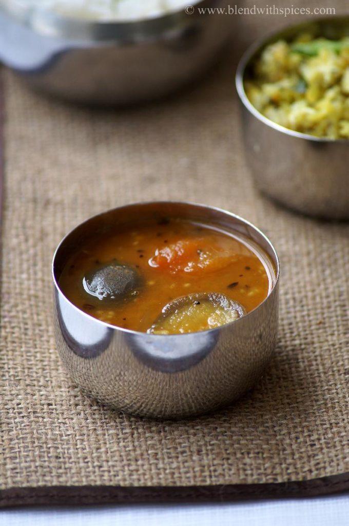 kathirikai sambar recipe, brinjal sambar recipe, recipe of brinjal sambar
