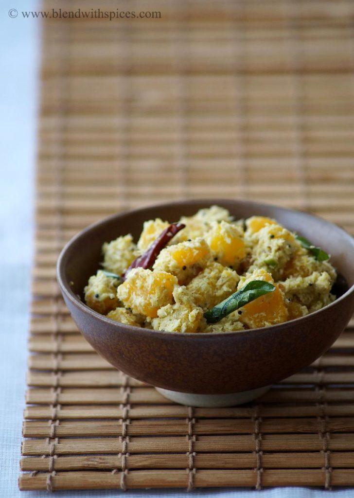 pumpkin thoran recipe, how to mak pumpkin thoran, mathanga thoran recipe, kerala recipes