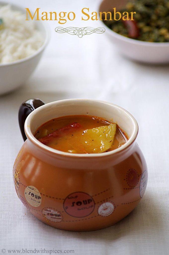 mango sambar recipe, how to prepare mango sambar, easy sambar recipe, recipes for onam sadhya