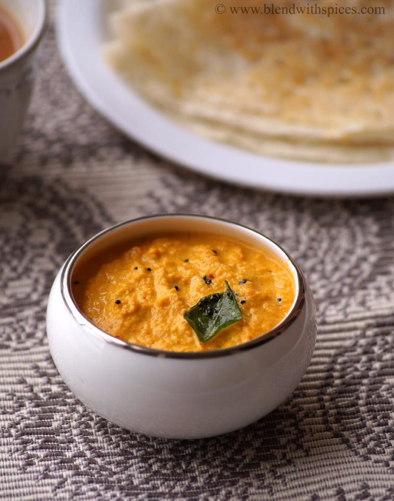 carrot peanut chutney recipe, how to make peanut carrot chutney, side dish for idli