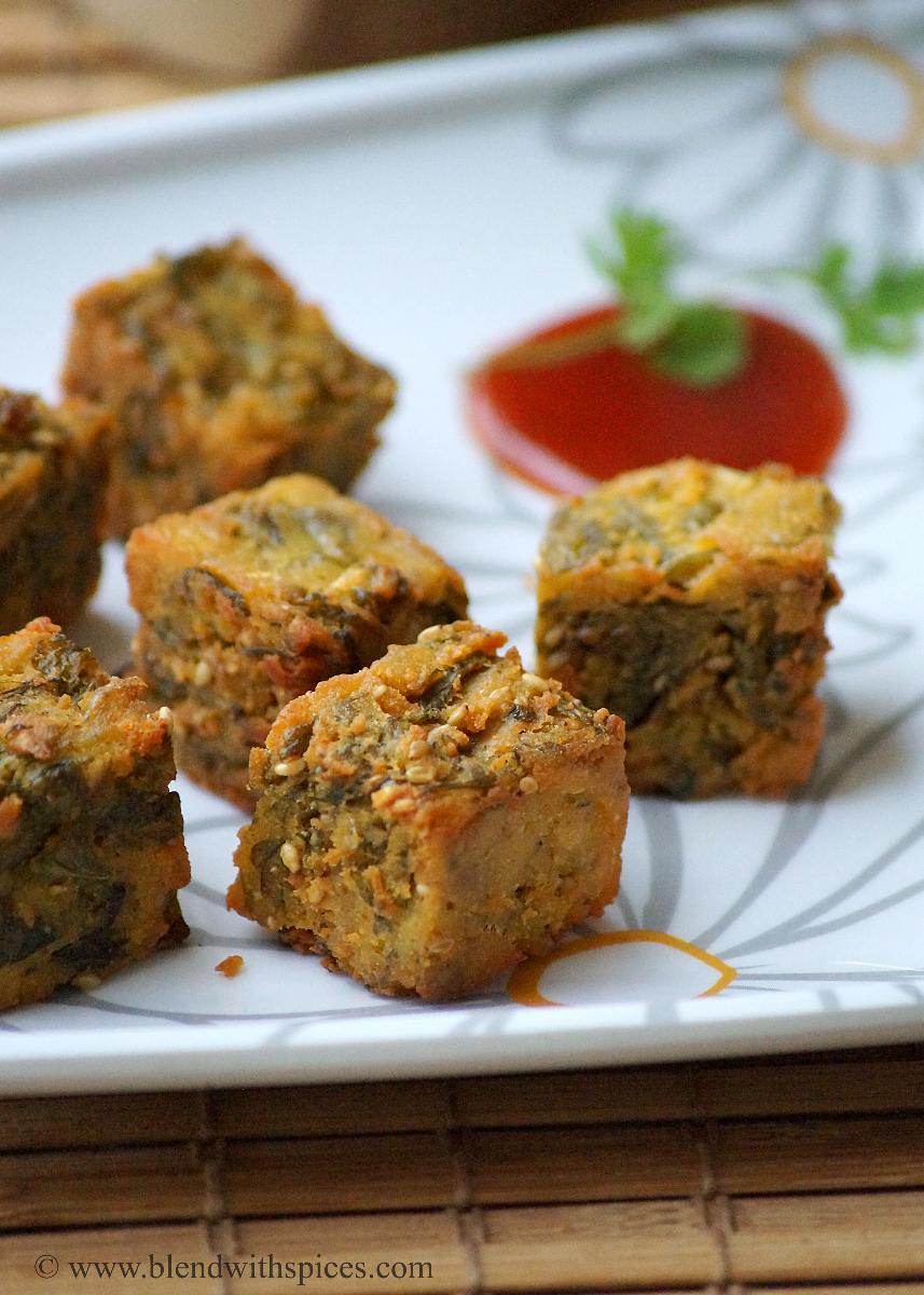 Maharashtrian Kothimbir Vadi Recipe ~ Crispy Coriander Fritters Recipe - Blend with Spices