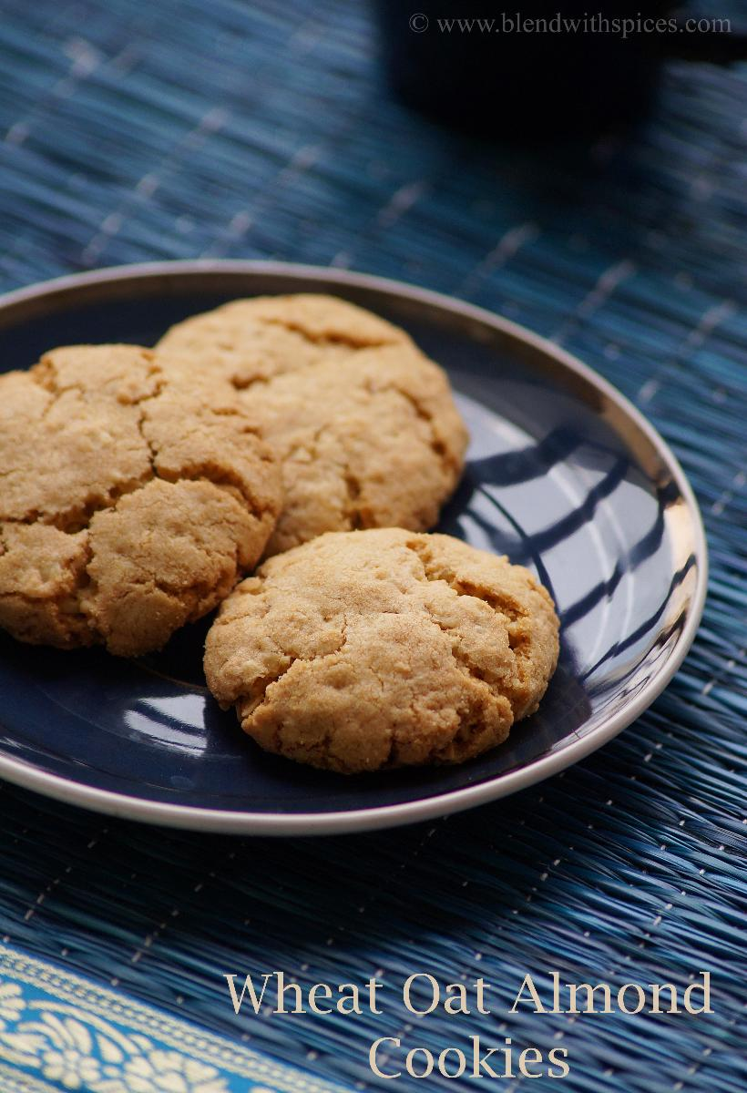 homemade wheat oat almond cookies placed on a blue plate