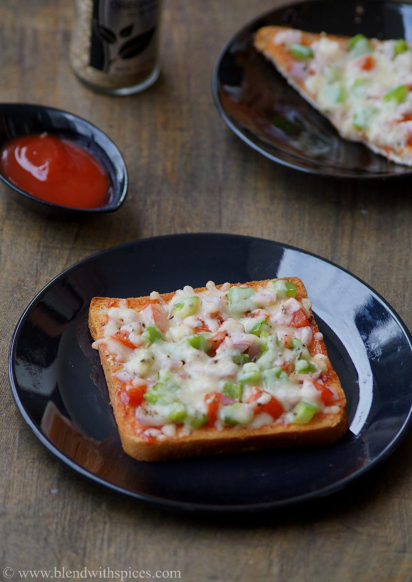 vegetable bread pizza served with tomato ketchup