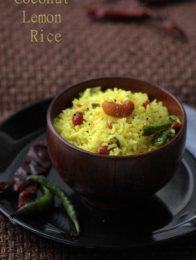 Nimmakaya Kobbari Pulihora Recipe – Coconut Lemon Rice Recipe – Easy Rice Recipes