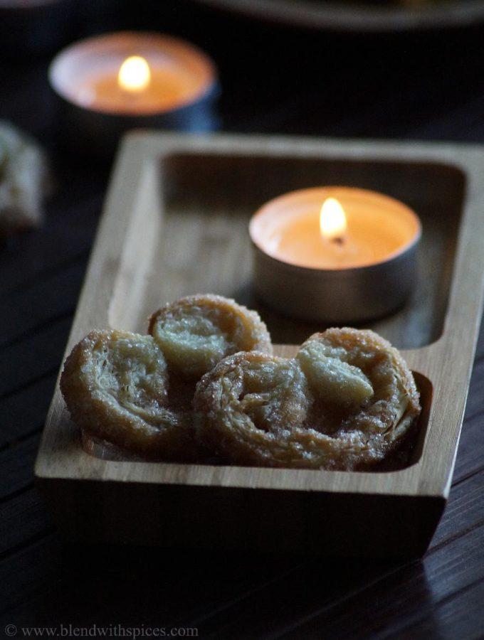 Palmiers Recipe – Little Hearts Recipe – Elephant Ears Recipe – Diwali Special Cookies Recipes