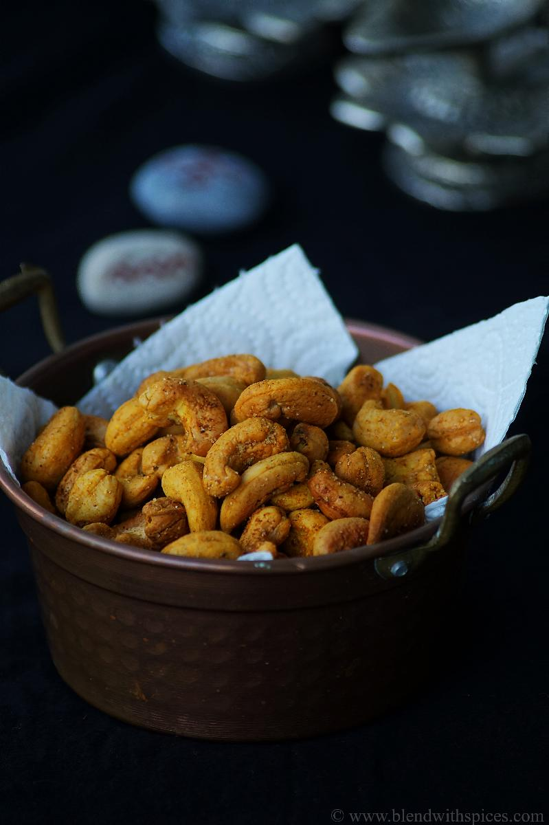 a bowl of Indian-spiced oven roasted cashews