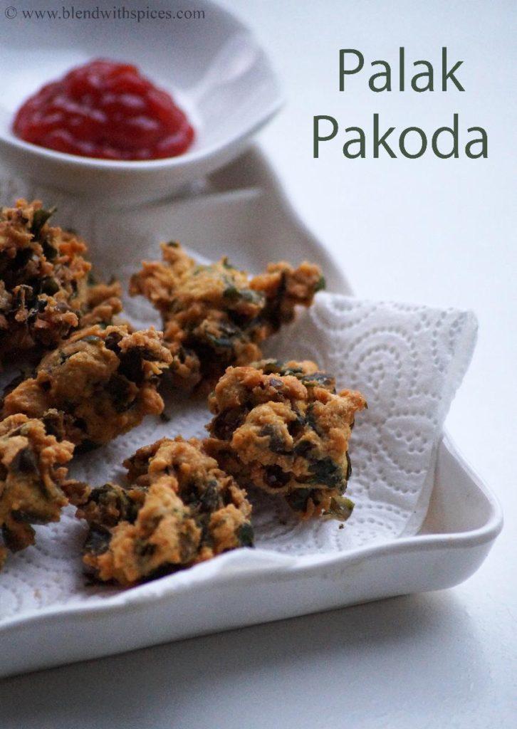 how to make spinach pakora, south indian snacks recipes, pakora recipes