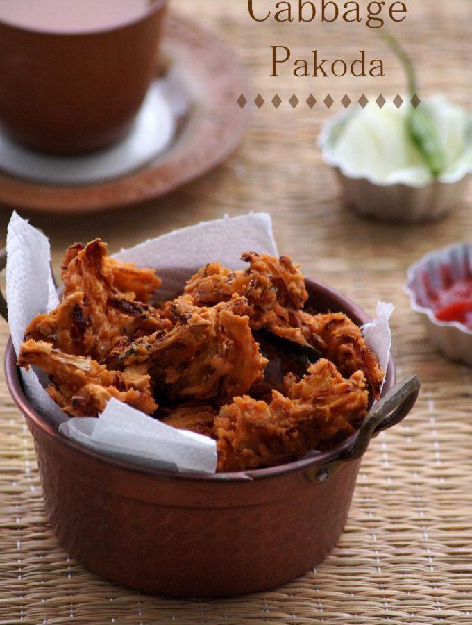 Cabbage Pakoda Recipe – South Indian Cabbage Pakodi Recipe {Video}