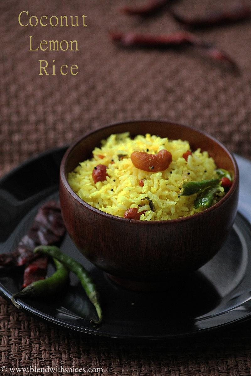how to make South Indian coconut lemon rice recipe
