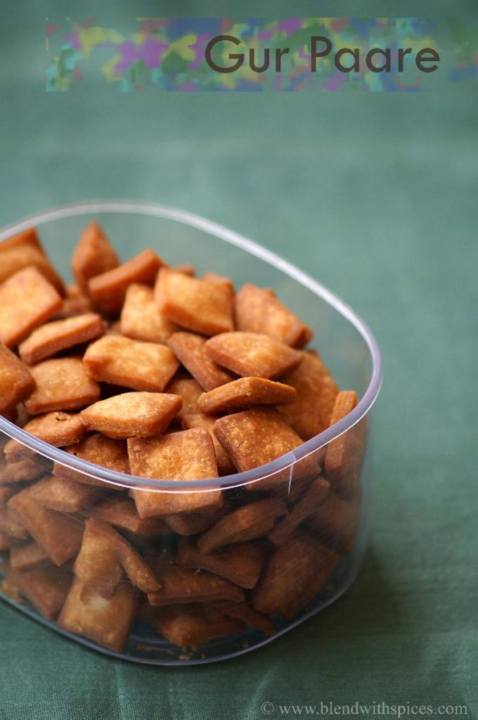 gur pare recipe, how to make gur para, easy indian sweets