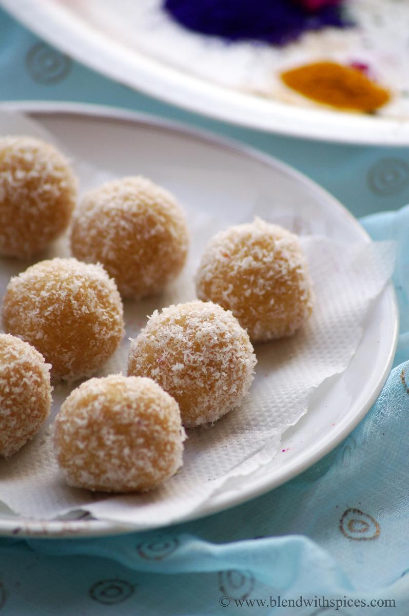 how to make mawa coconut jaggery laddu recipe