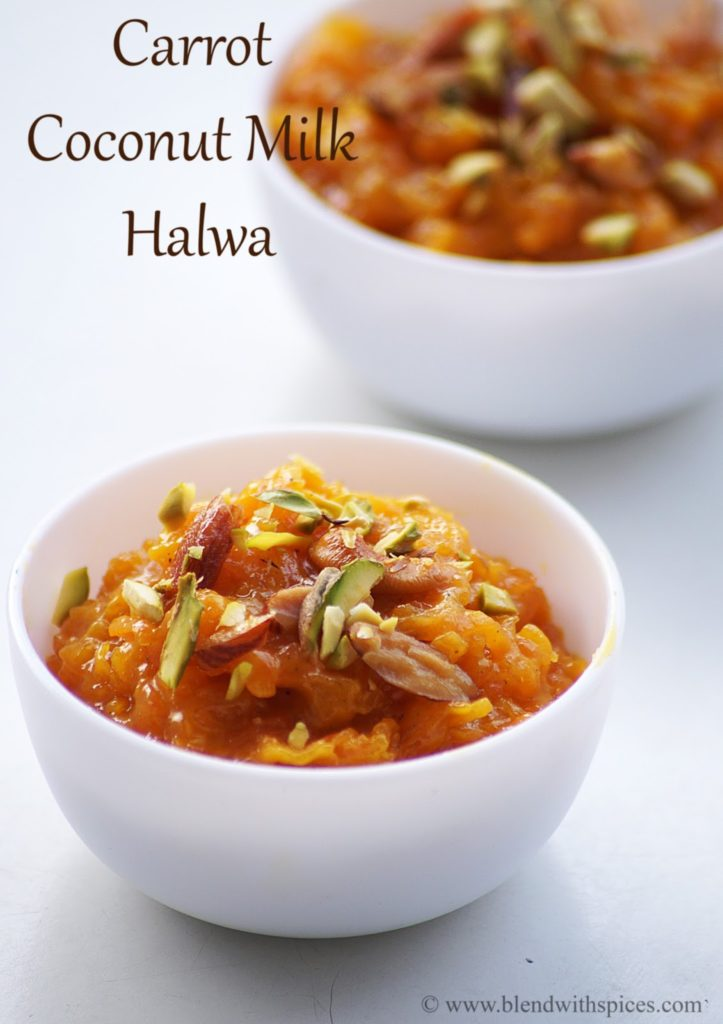 how to make carrot coconut milk halwa recipe | blendwithspices.com