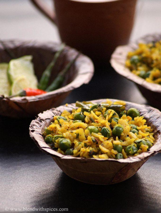 Chura Matar Recipe – How to make Banarasi Matar Poha Recipe – Healthy Indian Breakfast Recipes