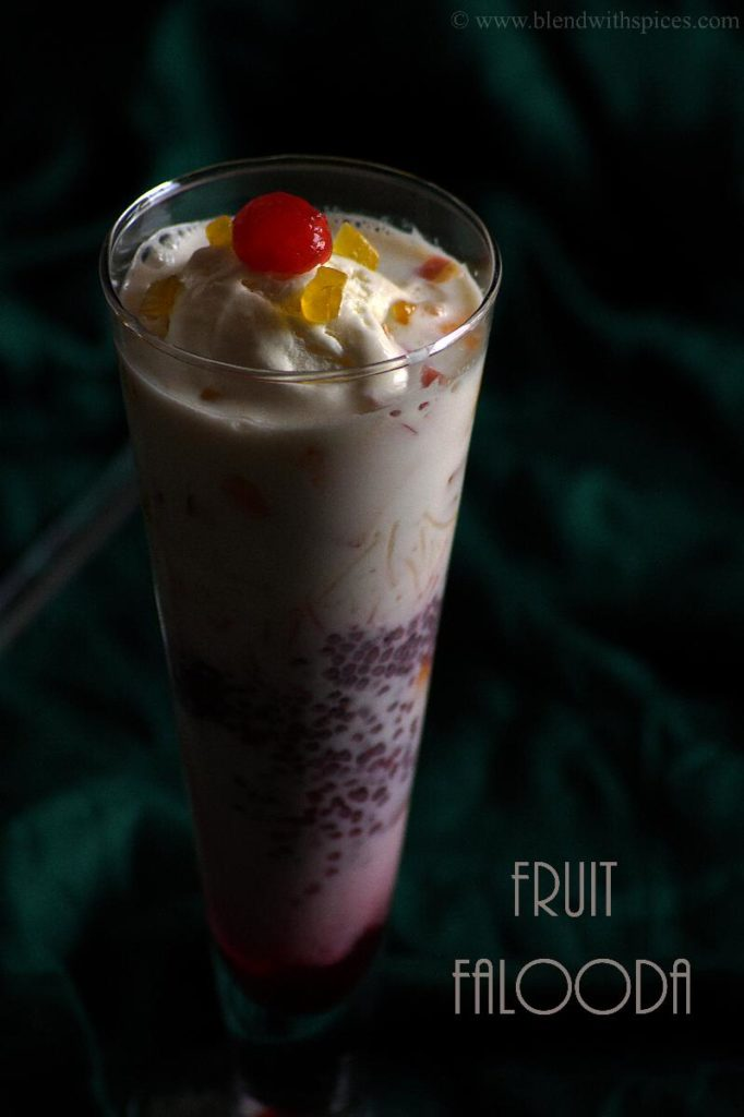 how to make fruit falooda, falooda recipe at home, blendwithspices.com