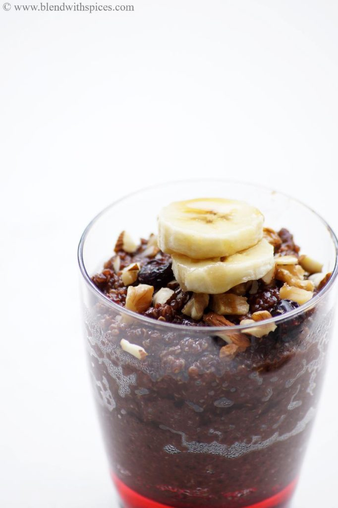 how to prepare quinoa chocolate breakfast pudding recipe, blendwithspices.com