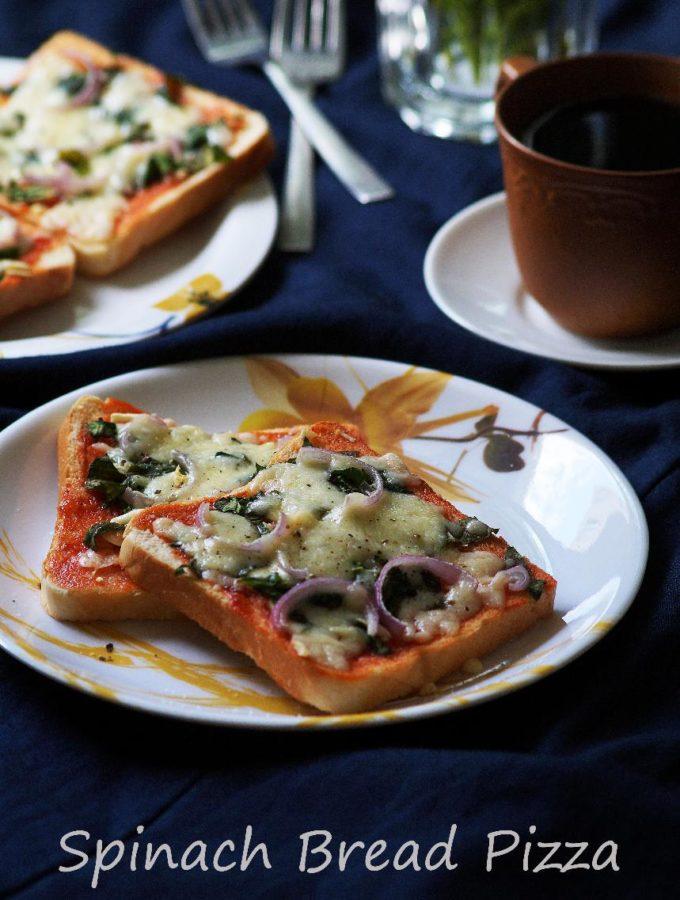 Spinach Bread Pizza Recipe – How to Make Spinach Bread Pizza Recipe