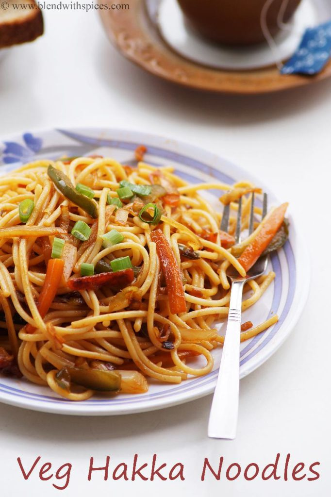 how to make veg hakka noodles recipe, indo chinese recipes, blendwithspices.com