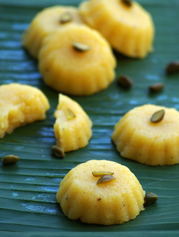 Orange Rava Kesari Recipe – Orange Flavored Semolina Halwa – Navratri Naivedyam Recipes