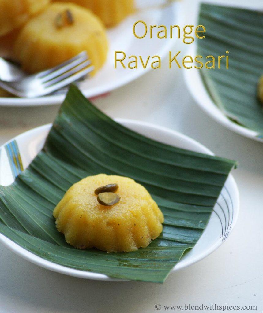 sooji ka halwa with orange juice, blendwithspices.com