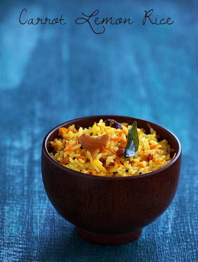 South Indian Carrot Lemon Rice Recipe – Carrot Nimmakaya Pulihora Recipe {Video}