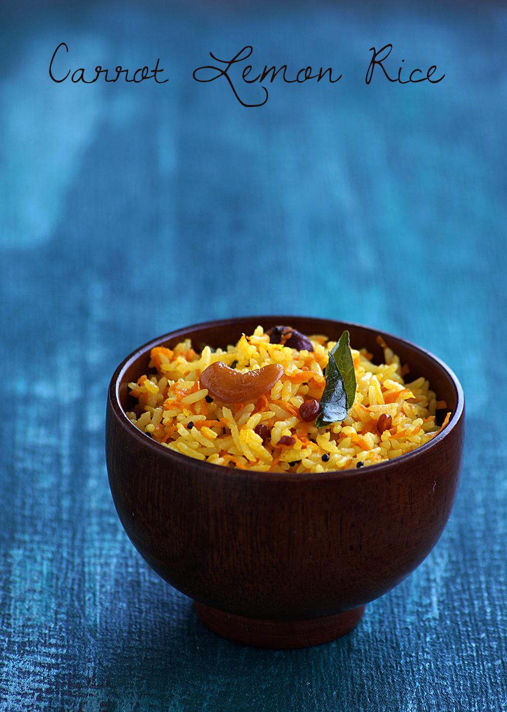 how to make south indian rice recipes, easy carrot nimmakaya pulihora recipe