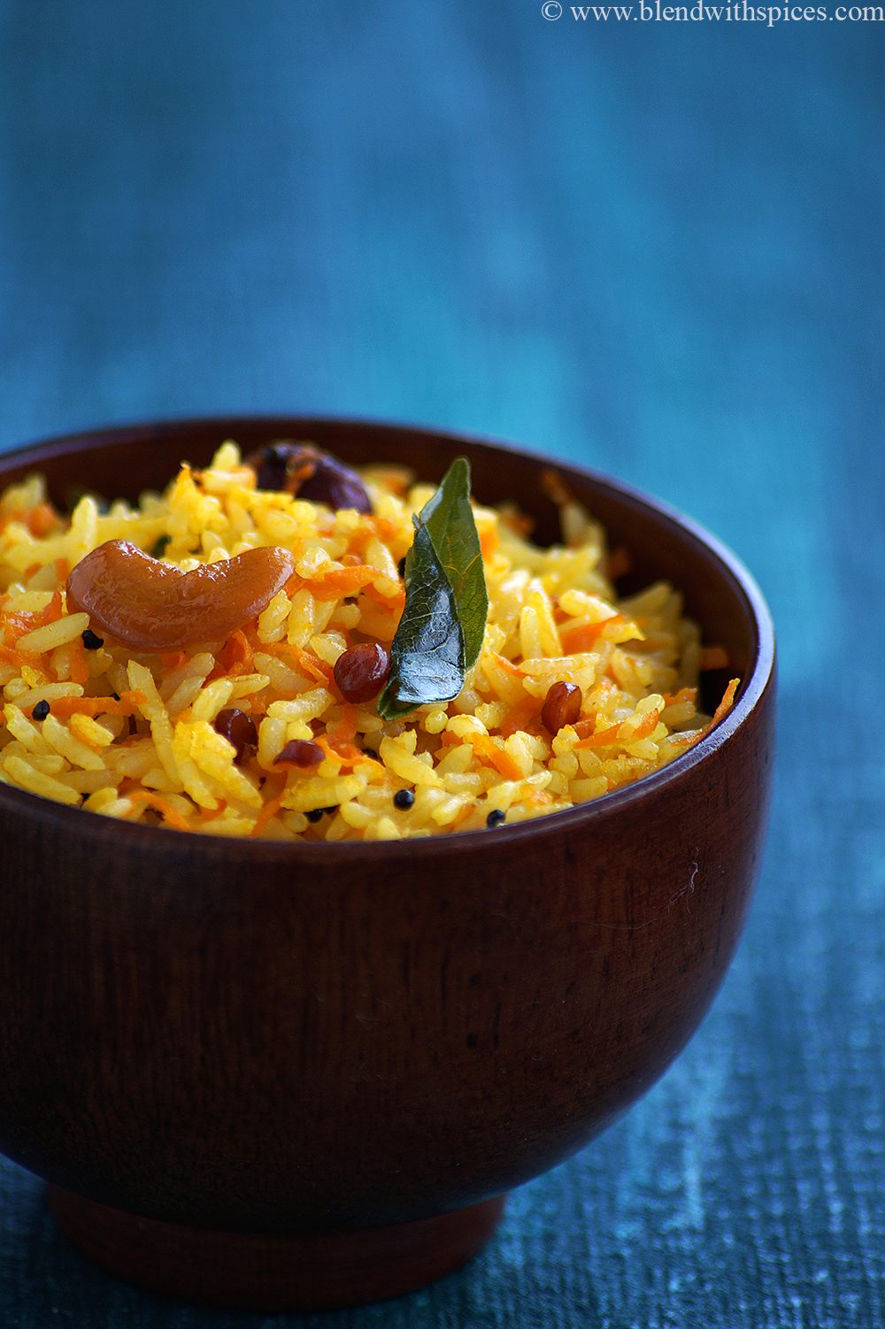how to make carrot lemon rice recipe, healthy carrot recipes indian