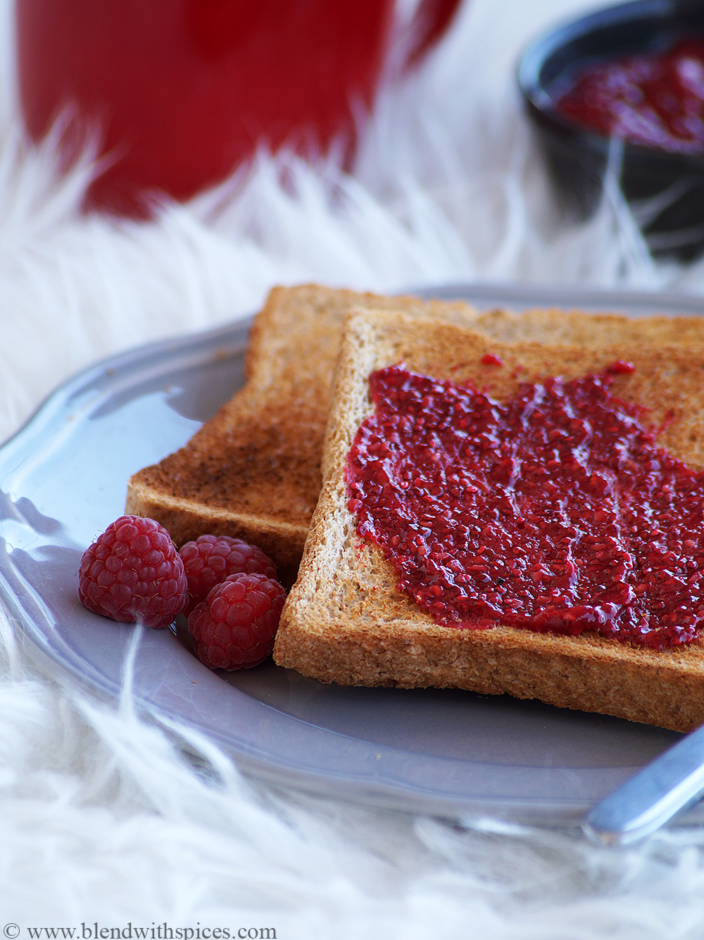 easy raspberry chia jam recipe, how to make healthy raspberry jam at home